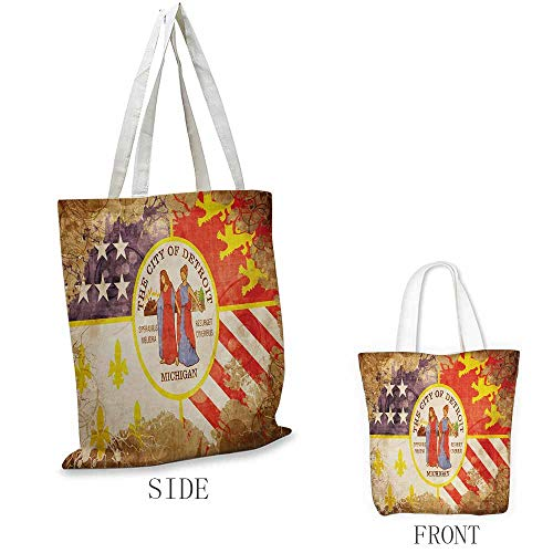 Swirl White Sasha - Detroit Craft canvas shopping bag Antique Detroit Flag with Floral Swirls Grungy Look Vintage Style Old American Can also be loaded with a laptop W15.75 x L17.71 Inch Multicolor