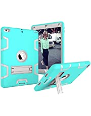 Shock Absorbing Silicone and PC Full-Body Protective Case Cover with Kickstand [ Screen Protector Bonus ] for iPad 6th Generation 9.7 inch 2018 Released ( Model Number A1893 A1954 ) iPad 5th Gen 9.7 inch 2017 Released ( Model Number A1822 A1823 ) - Grey / Mint