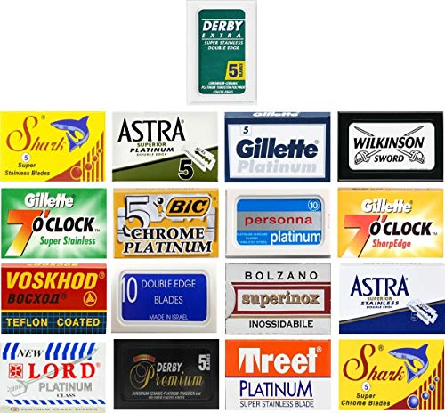 100 Excellent Quality Double Edge Razor Blades Sampler (17 different brands)