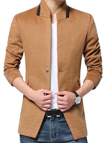 MLG Mens Vintage Solid Color Dress Suit Trench Jackets Ov...