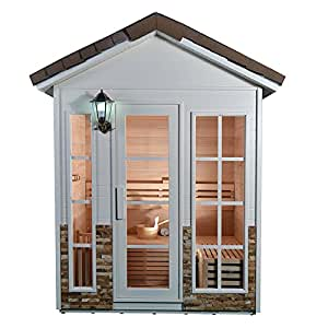 ALEKO CED6PORI 6 Person Outdoor Canadian Red Cedar Wet Dry Sauna Steam ROom With 6.0 KW ETL Electrical Heater, Stone Finish