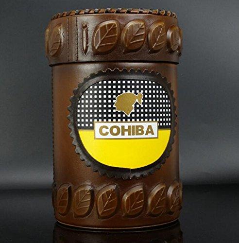 NEW COHIBA 20 Coffee Leather Cedar Cigar Jar Humidor W / humidifier and Hygrometer (Best Cuban Cigars 2019)