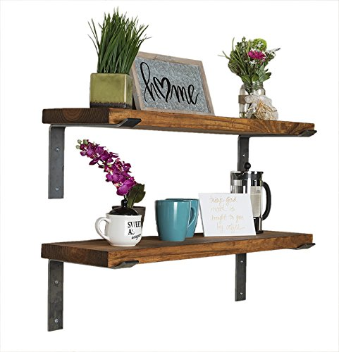 del Hutson Designs - Industrial Shelves w/ Metal Brackets (Set of 2), USA Handmade, Pine Wood (5H x 36W x 10D, Walnut) by del Hutson Designs (Image #2)
