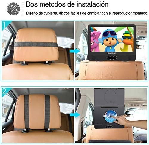 """Pumpkin 12"""" DVD Portátil Coche 2 Pantallas, Reproductor para Reposacabezas de Coche/ TV de Casa para Niños en Viaje soporta USB/ SD/ CD, Región Libre, con Control Remoto: Amazon.es: Electrónica"""