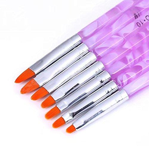 7pcs Assorted Acrylic UV Gel Nail False Tips Builder Brush Pen Tool Doyeemei
