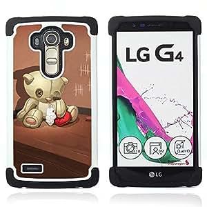 BullDog Case - FOR/LG G4 H815 H810 F500L / - / BROKEN HEART TEDDY RED LONELY SAD BEAR /- H??brido Heavy Duty caja del tel??fono protector din??mico - silicona suave
