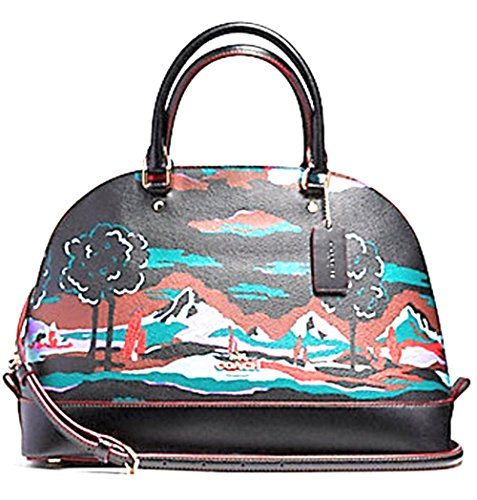 Coach Women's Sierra Satchel Coated Canvas Landscape Print, Style F11903, IM Black Multi by Coach