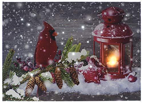 Oak Street Cardinal with Red Lantern LED Art 8