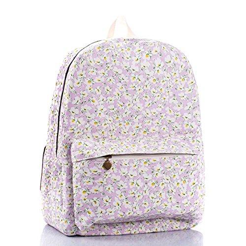 OUFLY lindo amarillo claro y crisantemo pastoral estilo lona mochila mochila de impresión de viajes Daypack impreso mochila hombro bolsa mochila escuela escuela bolsa para mujeres Damas Chicas Crisantemo púrpura claro