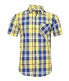 AVANZADA Men's Snap Button Down Plaid Short Sleeve Work Casual Western Shirt Blue&Yellow XXX-Large