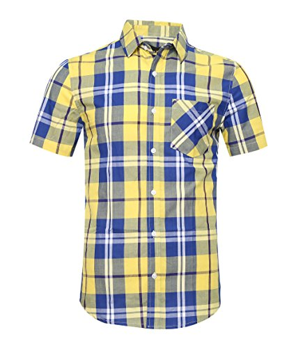 AVANZADA Men's Snap Button Down Plaid Short Sleeve Work Casual Western Shirt Blue&Yellow Large