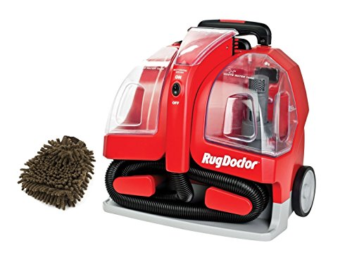 (Red, Corded Rug Doctor Portable Spot Cleaner Machine (Complete Set) w/ Bonus: Premium Microfiber Cleaner Bundle)
