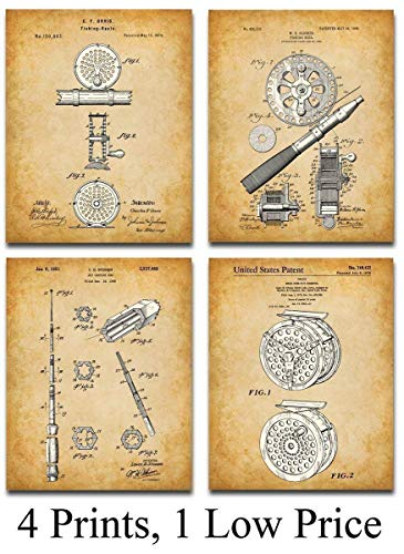Original Fly Fishing Rods and Reels Patent Art Prints - Set of Four Photos (8x10) Unframed - GMakes a Great Gift Under $20 for Fly Fishermen, Cabin or Lake House Decor