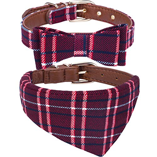 2PC Adjustable Collar for Medium Dogs. Cute Unique Plaid of Durable Polyester Fabric Blend. for Male and Female from StawberryEC (Medium, Red-Leather)