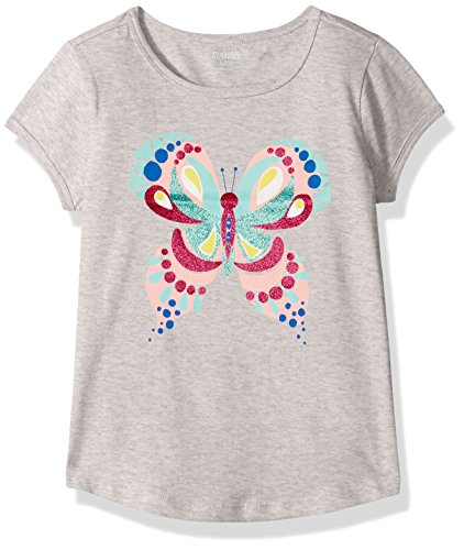Gymboree Big Girls' Favorite Short Sleeve Graphic Tee, Heather Grey Butterfly, L