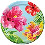 Creative Converting 18 Count Paper Dessert Plates, Heavenly Hibiscus