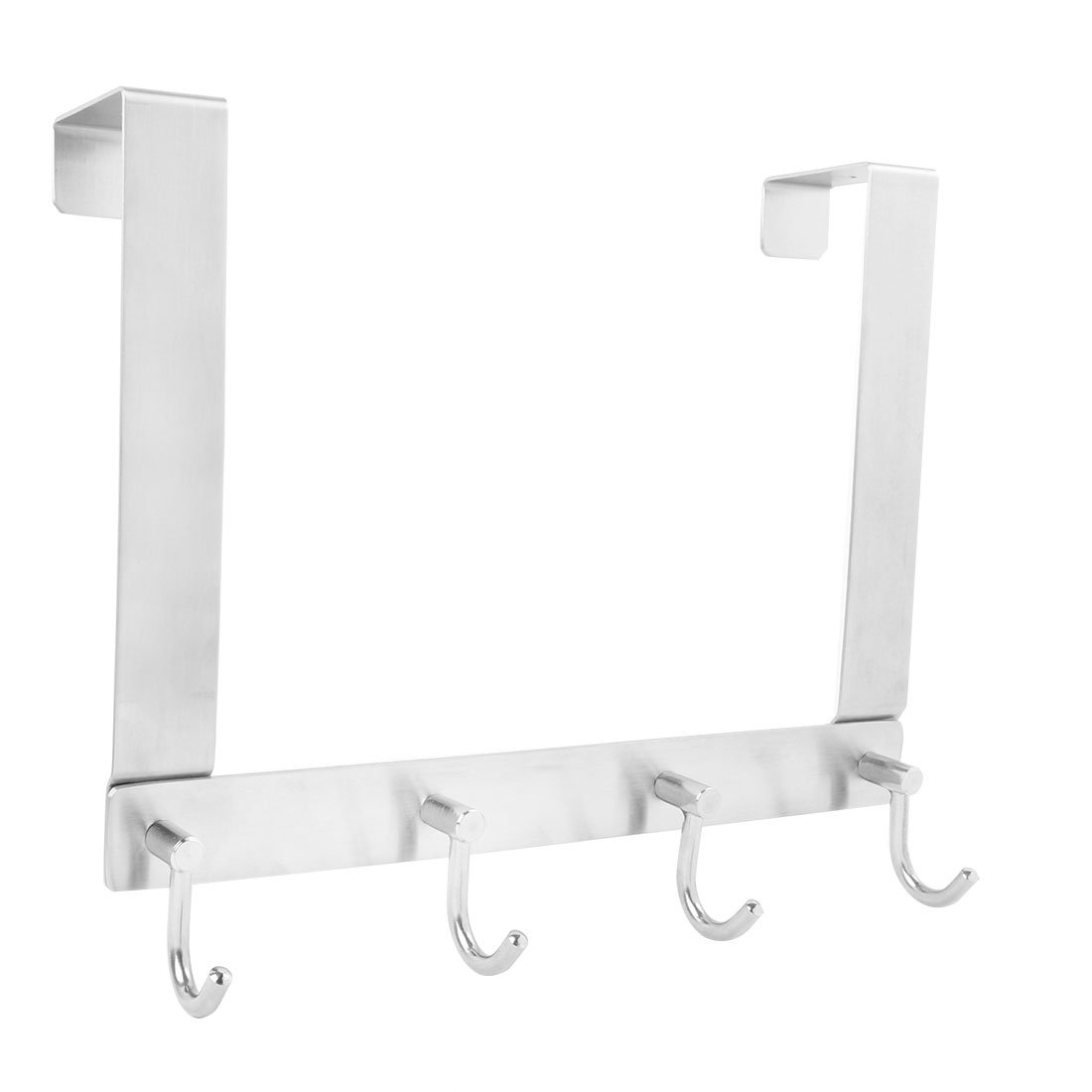 uxcell 304 Stainless Steel J Shaped Over The Door Hook Organizer Rack Hanging Coats Hats 4 Hooks