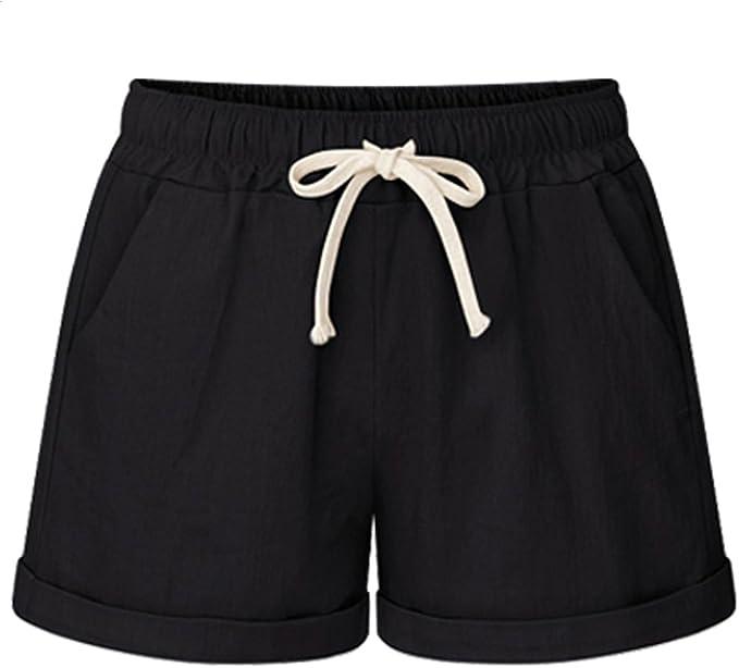 raschietto Arabo non può  XinYangNi Women's Elastic Waist Casual Comfy Cotton Beach Shorts with  Drawstring at Amazon Women's Clothing store