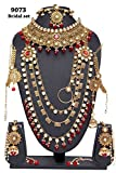 Ethnic Fabulous Indian Style Golden Plated Polki Kundan Stone Indian Necklace Earrings Bridal Set Partywear Jewelry