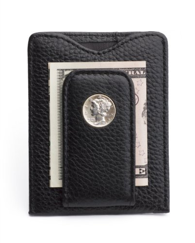 Wallet Mens Icon (Tokens & Icons Mercury Dime Money Clip Wallet - Black (80M-BLK))