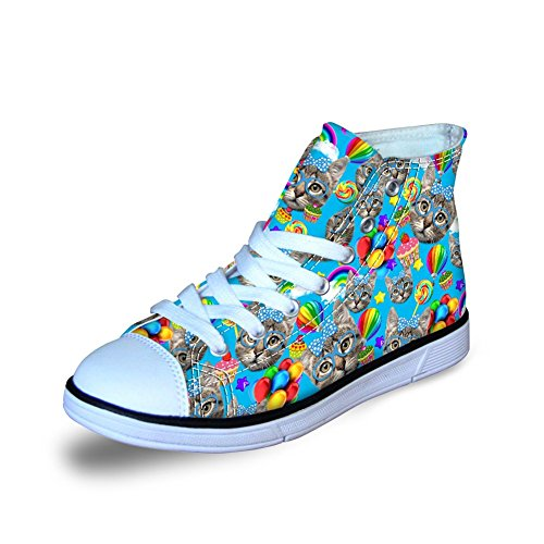 Keppel shoe Fashion Cute Colorful Cat Owl Print High Top Casual Little Kids Canvas Skate Shoes Sneakers