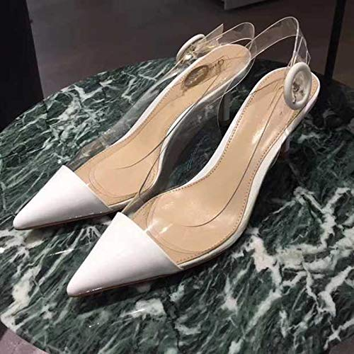 Pointed High Female White High Autumn White Word Transparent With With Female Silver Heels heels Yukun Sandals 36 Back Cat Single Stiletto Buckle Shoes YPwAqzdx