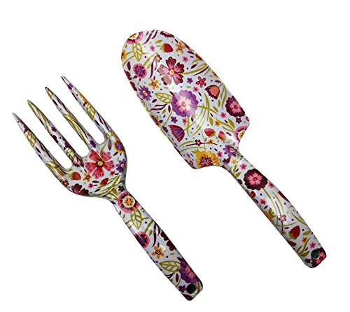 Megawodar Floral Print Garden Tools Set for Women Trowel and Rake