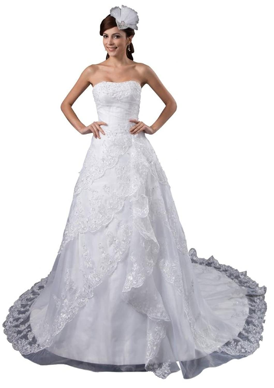 Orifashion White Strapless Layered Organza Bridal/Wedding Dress (Model BWGHER0406)