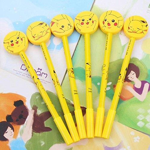 Kawaii Cartoon Anime Yellow Roller Ball Writing Pikachu Gel Pen with 0.38mm Point Black Ink Pens Creative Ballpoint Stationery Prizes Office School Student Kids Birthday Gift Set ()
