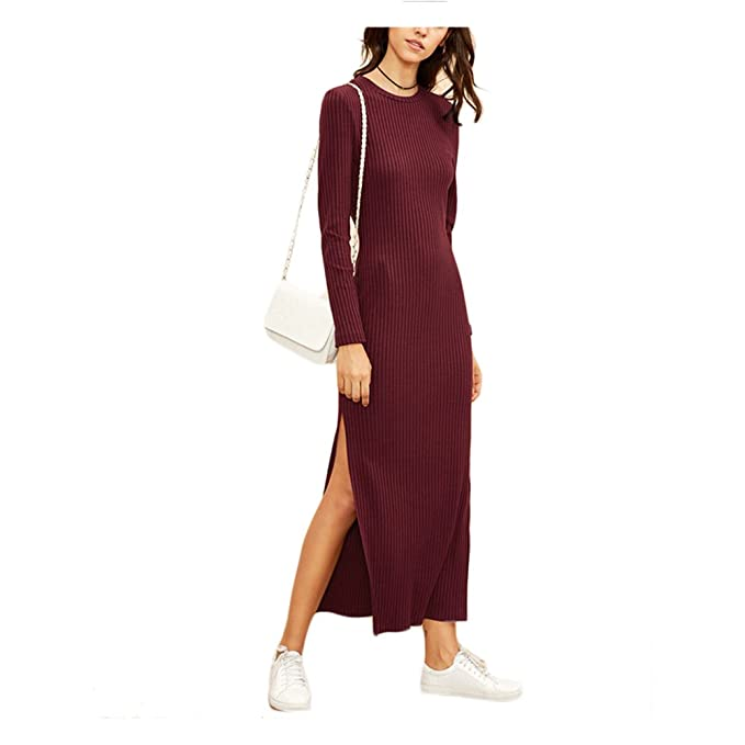 61234ed68003 Sexy Panyan Women Fall Dresses Burgundy Knitted Long Sleeve High Slit  Ribbed Dress Red XS