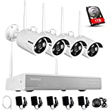Annke 960P 4-Channel Wireless Network Security System with 1TB Hard Drive and (4) 1.3MP Weatherproof IP Cameras Built-in WIFI Module, Superior Night vision