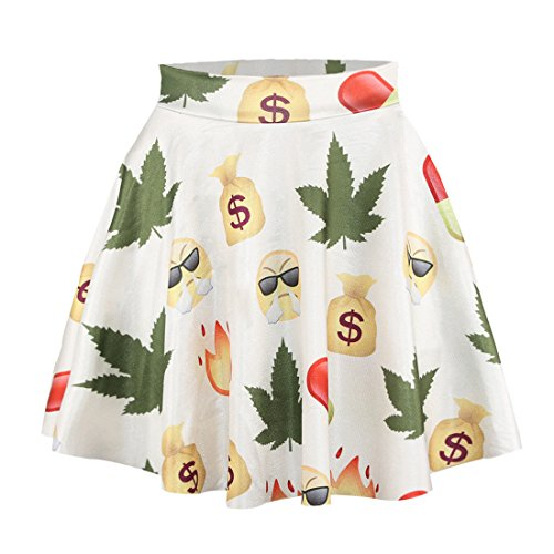 YICHUN mujeres niñas Mini faldas fiesta falda falda pantalón corto vestido de playa túnica Emoji 9#