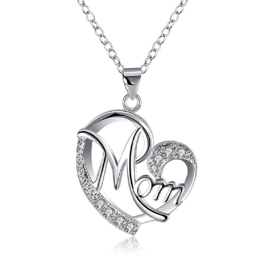 JDX Love Mom Gift Mama Necklace Silver Plated Jewelry Gift for Mother Mum Letters