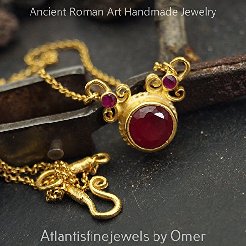 Roman Art Red Topaz Necklace 24k Gold Vermeil Sterling Silver Fine Turkish Jewelry