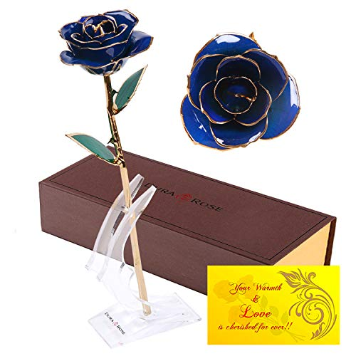 DuraRose Authentic Rose with Long Stem Dipped in 24k Gold, with Stand and Love Card - Best Gift for Loves Ones. Ideal for Valentine