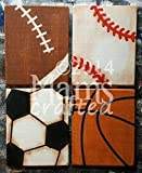 Vintage Sports, Set of 4 Weathered Wood Wall Art, Several Sizes and Shapes