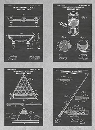 - Billiards Game & Pool Hall Wall Decor Collection: Set of Four Patent Print Art Posters: Choose From Multiple Size and Background Color Options