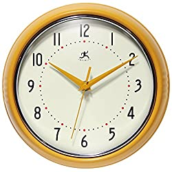 Infinity Instruments 9.5 inch Saffron Wall Clock Round Retro, Medium, Yellow