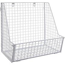 Modern White Metal Wire Wall Mounted Hanging Towel Basket/Freestanding Magazine/File Organizer Rack