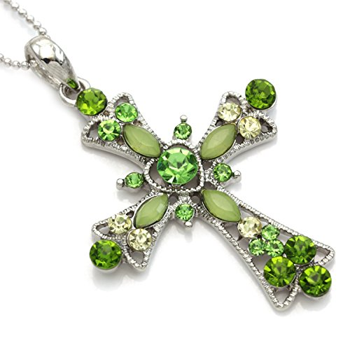 n Cross Heart Shape Pendant Necklace Chain Charm Fashion Jewelry (Light Green Necklace)