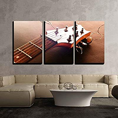 """3 Piece Canvas Wall Art - Electric Guitar, Close Up - Modern Home Art Stretched and Framed Ready to Hang - 16""""x24""""x3 Panels"""