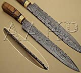 AAHP - 51, 16.625 Inches Handmade Damascus Sushi Knife with Approx 11.5 inch Blade Made of 100% Real Damascus Steel, Approx 5.125 inch Olive Wood with Brass Rings
