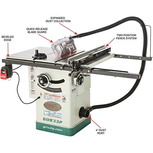"""Grizzly Industrial G0833P - 10"""" 2 HP 230V Hybrid Table Saw with Riving Knife, Polar Bear Series"""