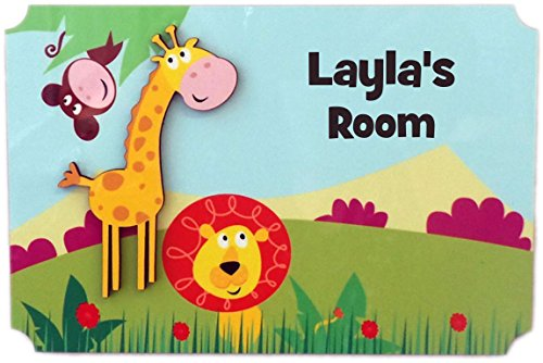 Sign Room Knight - Rikki Knight Layla's Room - 3D Giraffe on Jungle - Door Sign Plaque with Name for Children and Baby's Bedroom