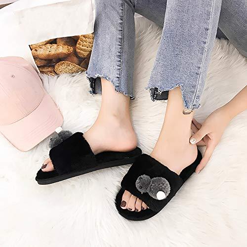 Pointues Poil Coton Et Sauvages Chaussons À En Pantoufles Femme Perlées Hiver Chaussures Gris Bazhahei Plates XwIwUq
