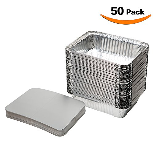XIAFEI Disposable Durable Aluminum Rectangular Foil Pans, Take-Out Containers, Pack of 50 With Board Lids - Edge Steam Table Pan
