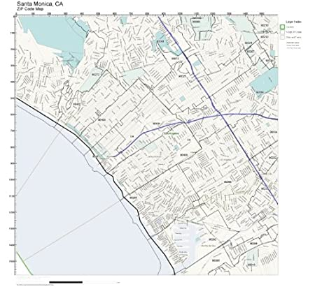 zip code wall map of santa monica ca zip code map