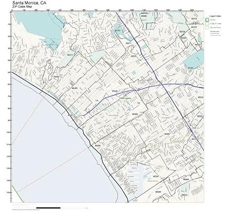 Amazon.com: ZIP Code Wall Map of Santa Monica, CA ZIP Code ...