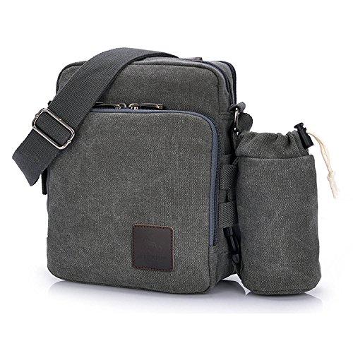 Outreo Borsa Tracolla Uomo Borse da Spalla di Tela Canvas Messenger Bag Vintage Sacchetto di Tablet Piccolo Borsello per Studenti Scuola Università Tasche Viaggio Outdoor Sport Tasca (Grigio One)
