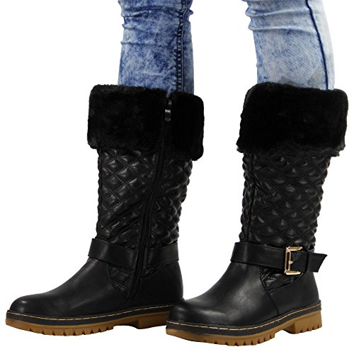 3 New Buckle UK Good Black Colours Sock 3 Boots 8 Balck Ladies Hard Womens Fur Lace LoudLook Size Up Calf Winter Rain Sole Z8dYqwTY